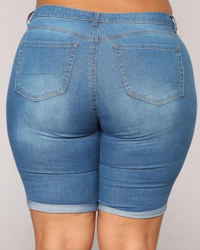 Women's Plus Size Denim Five-point Curled Short