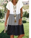 V Neck Short Sleeve Cotton-Blend Dresses