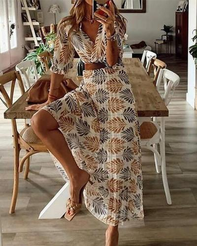 Printed Half-Sleeve A-line Casual/Vacation Maxi Dresses