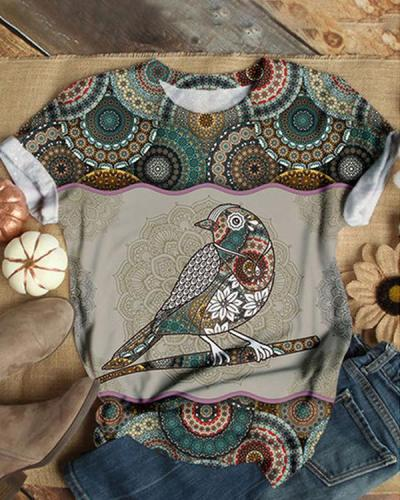 Animal Pattern Round Neck Shirts & Tops