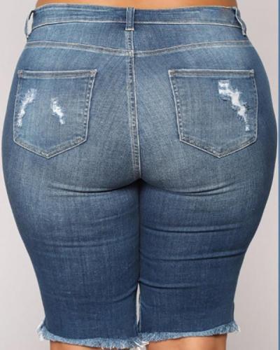 Plus Size Plain Zipper Skinny Ripped Shorts