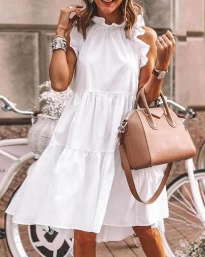 Round Neck Sleeveless Fitted Vacation Dress