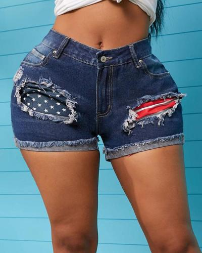 Hole Mid Waist Zipper Shorts