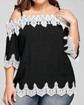 Three-quarter Sleeve Lace Sling Chiffon Shirt