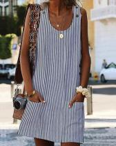 Crew Neck Women Dresses Shift Daily Boho Pockets Striped Dresses