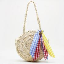 Women's Colorful Ribbon Beach Straw Handbag