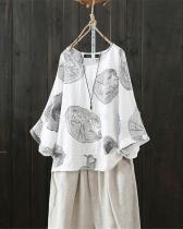 Plus Size Round Neck Vintage Print Linen Cotton Blouses