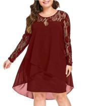 Spliced Long Sleeve Plus Size Mid-length Dress