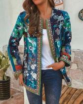 Vintage Ethnic Style Floral Print Patchwork Plus Size Jackets