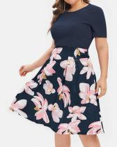 Plus Size Flower Print A Line Dress