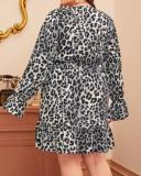 Leopard Print Ruffled Hem Sexy V-neck Dress