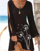Black Crew Neck Casual Dresses