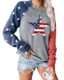 Plus Size Long Sleeve Letter Printed Color Stitching Top