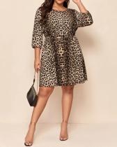 Leopard Print Round Neck Half Sleeve Dress