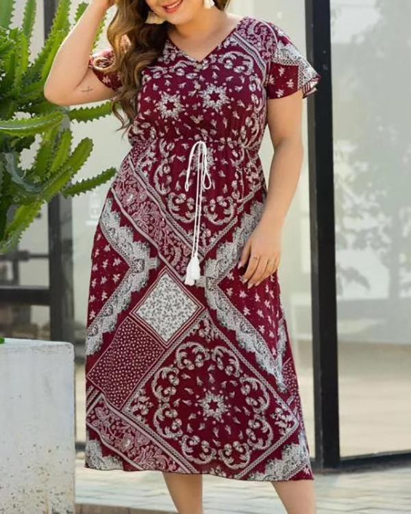 Plus Size Print Short Sleeves A-line Midi Boho Casual Vacation Dress