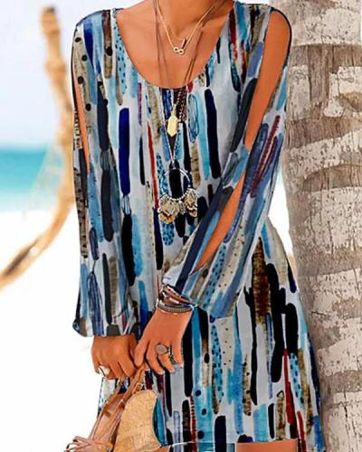 Print Cold Shoulder Sleeve Casual Vacation Dresses