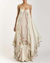 Plus Size Bohemian Embroidered Sleeveless Summer Suspender Dress