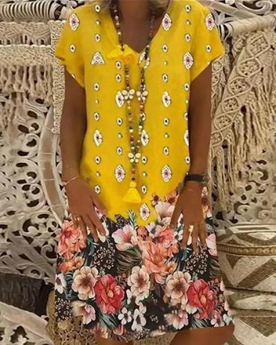 Casual Short Sleeve V Neck Printed Dresses