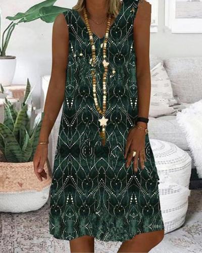 Vintage Sleeveless Printed Graphic Dresses