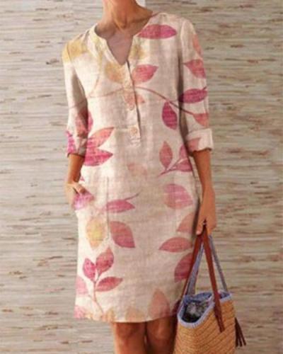 Plus Size Casual Flower Print 1/2 Sleeve Dresses