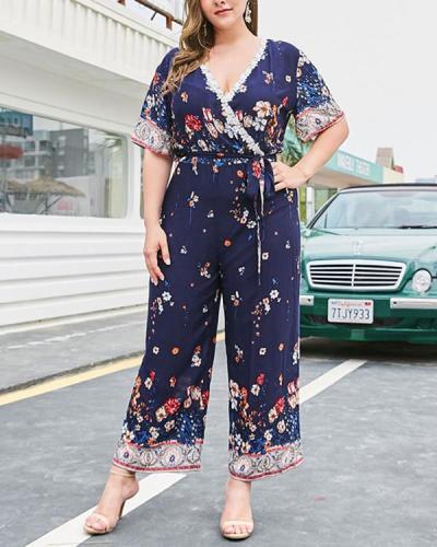 Plus Size Floral Ankle Length Lace-Up Wide Legs Loose Jumpsuit