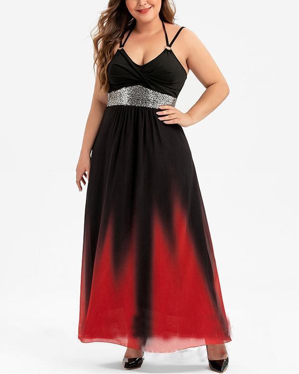 Plus Size Gradient Long Sling Dress
