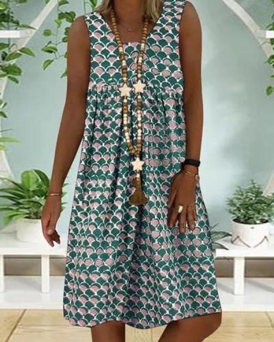 Casual Color Block Round Neckline Knee-Length Shift Dress