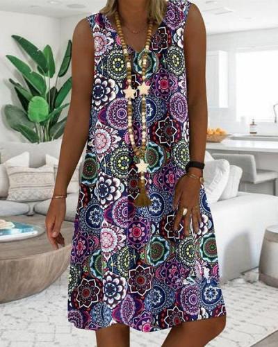 Vintage Printed V-neck Sleeveless Midi Dress