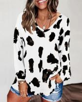 Plus Size V Neck Long Sleeves Leopard Pullover Tops