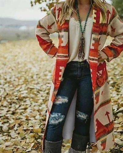 Cotton Tribal Long Sleeve Outerwear Coat