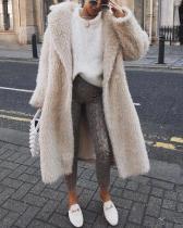 Fashion Lapel Collar Plain Floss Keep Warm Long Coat