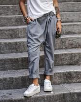 Solid Color Casual Pocket Elastic Waist Harem Pants