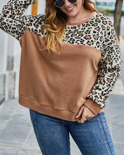 Plus Size Contrast Leopard Print Long Sleeve Sweater