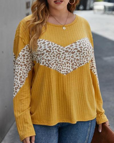Plus Size Long Sleeve Color Block Leopard Print Blouse