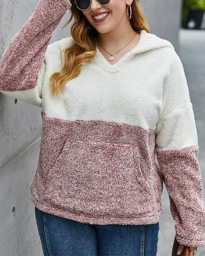 Plus Size Double Sided Thick Hooded Plush Sweater