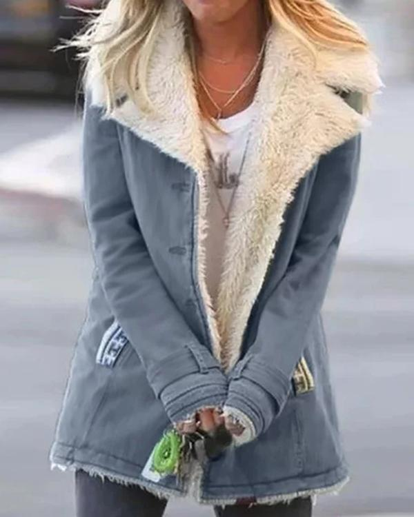 Casual Plain Turn-Down Collar Buttoned Long Sleeve Outwear