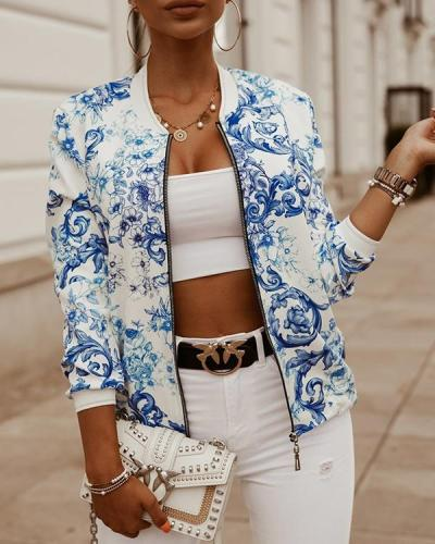 Casual Long Sleeve Printed Cropped Jacket
