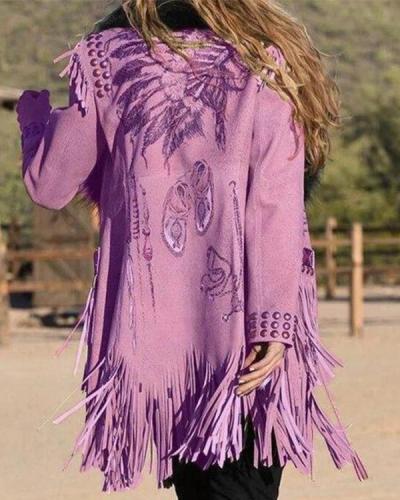 Fashion Winter Boho Tassel Coat