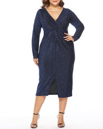 Plus Size V-neck Shiny Split Dress
