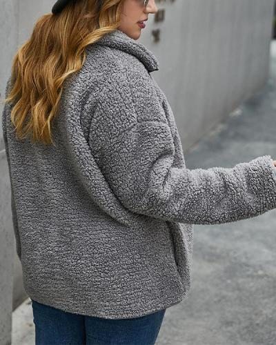 Plus Size Padded Fleece Lapel Plush Jacket
