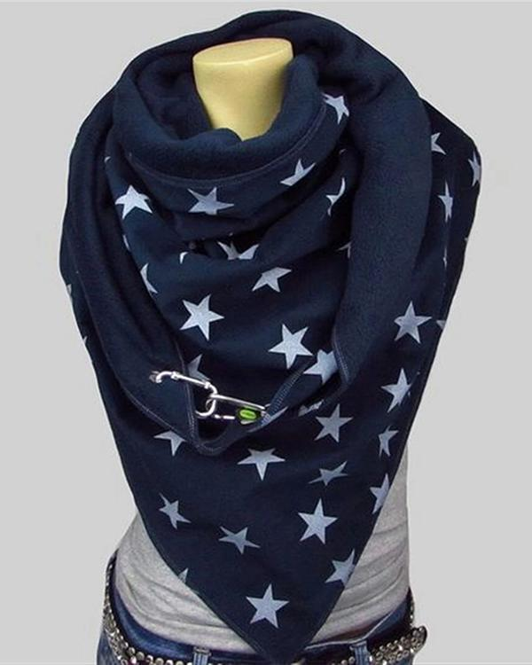 Women Star Printed Scarf Shawl Multi-purpose Neck Wrap Warm Scarf