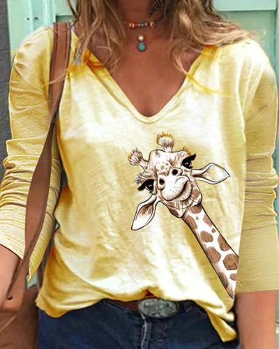 Women Animal Print V Neck Long Sleeve T-Shirts