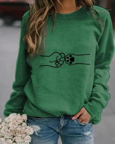 Paw Print Round Neckline Sweatshirts