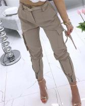 Pocket Zipper Design Tied Cuff Cargo Pants