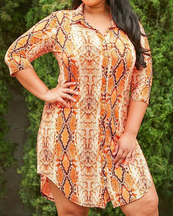 Plus Size Print Lapel Serpentine Sleeve Shirt Dress/Blouse