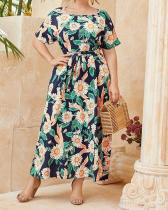 Plus Size Wrap Floral Round Neckline Casual Sashes Dress