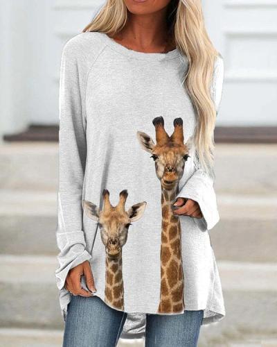 Giraffe Printed Long T-Shirts