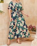 Plus Size Wrap Floral Round Neckline Casual Sashes Dress