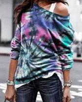 Gradient Heart Swirl Print Paneled Crew Neck Casual T-shirt