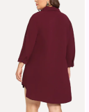 Asymmetric Plain Regular Plus Size Shirt Dress/Blouse
